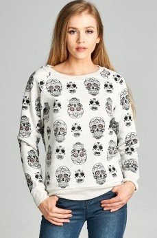Sale! Sugar Skull Fleece Lined Sweatshirt
