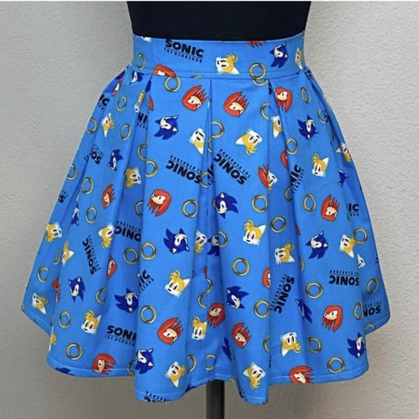 Sonic the Hedgehog High Waisted Pleated Skater Skirt