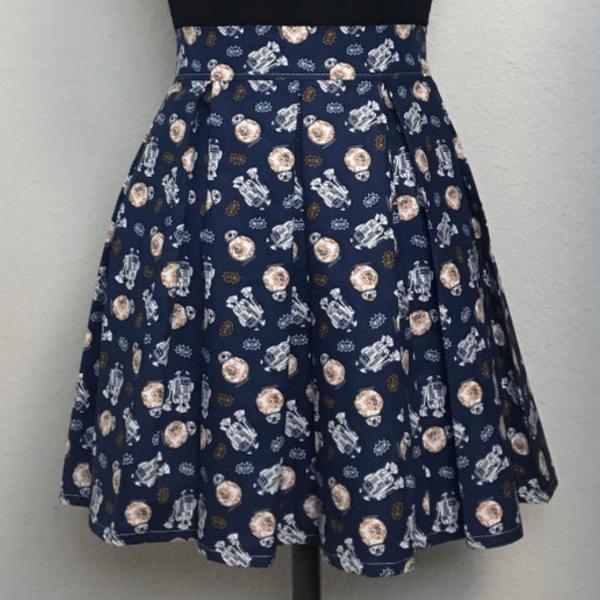 Star Wars Droids High Waisted Pleated Skater Skirts