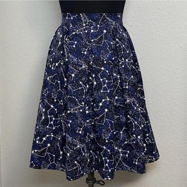 Glow in the Dark Constellation High Waisted Pleated Skater Skirt