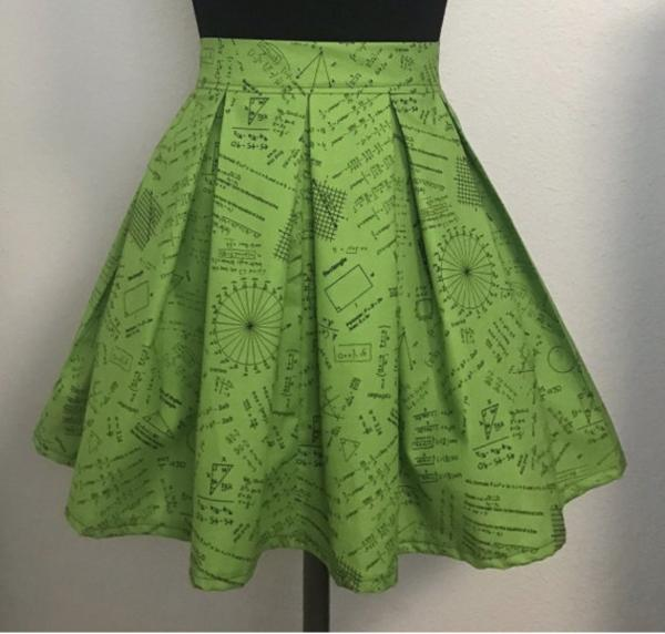 Green Equations High Waisted Pleated Skater Skirt