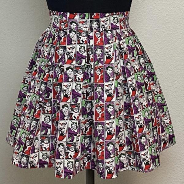 The Joker and Harley Quinn High Waisted Pleated Skater Skirts