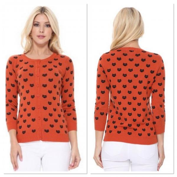 Orange and Black Cat Cardigans
