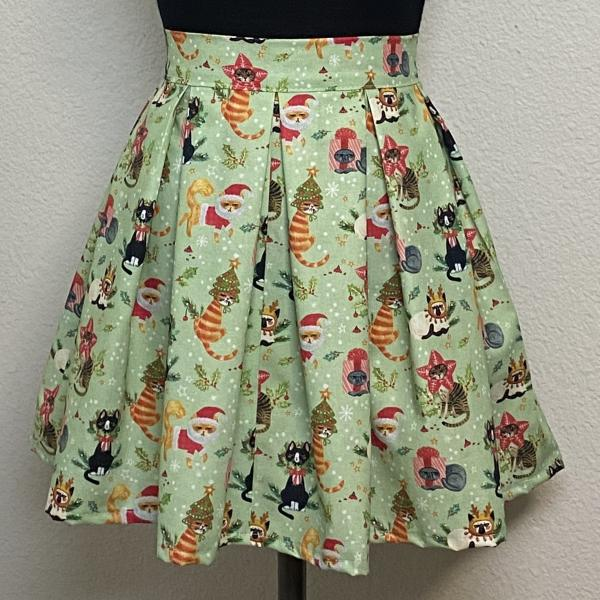 Grumpy Christmas Animals High Waisted Pleated Skater Skirts
