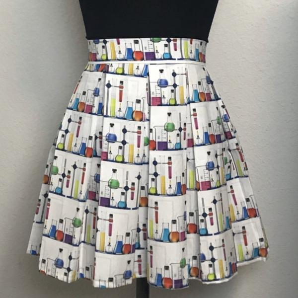 Beakers Chemistry High Waisted Pleated Skater Skirt