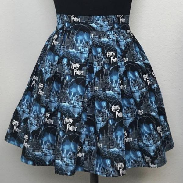 Harry Potter Hogwarts High Waisted Pleated Skater Skirt