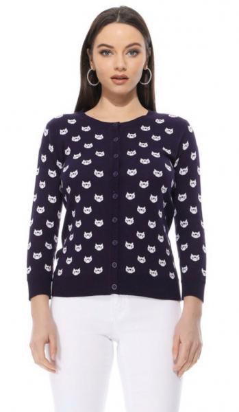 Purple and White Cat Cardigans