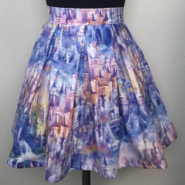 Rainbow Castle High Waisted Pleated Skater Skirt