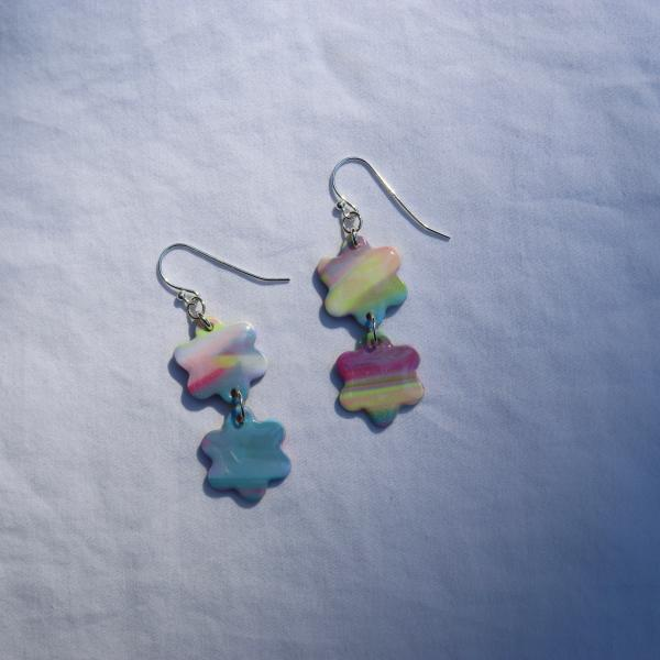 Two Drop Flower Dangly Earrings