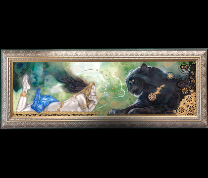 Beauty and the Beast Signed framed giclee on canvas