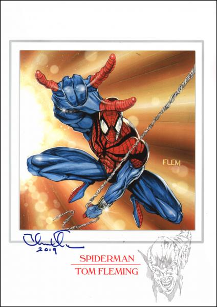 Spiderman print with original sketch of Green Goblin