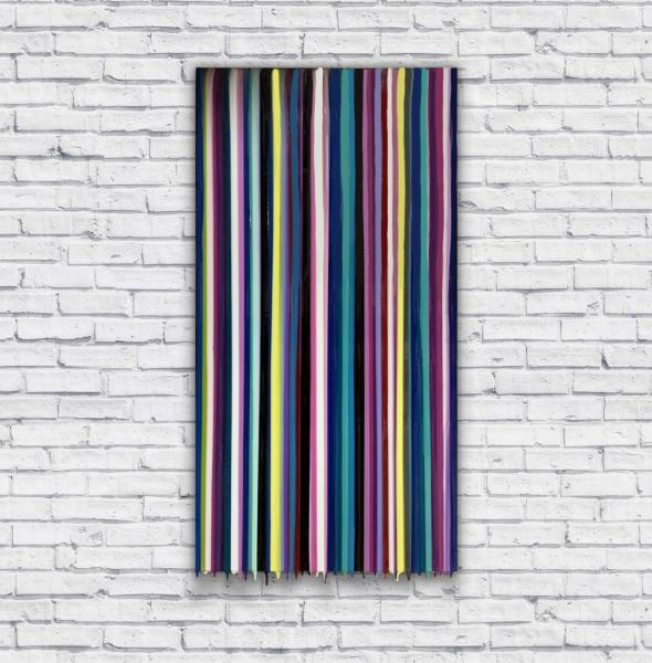 Poured vertical stripes and drips 15x30