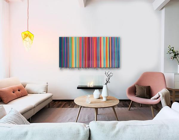 Tequila Sunrise stripes and drips 24x48 original painting