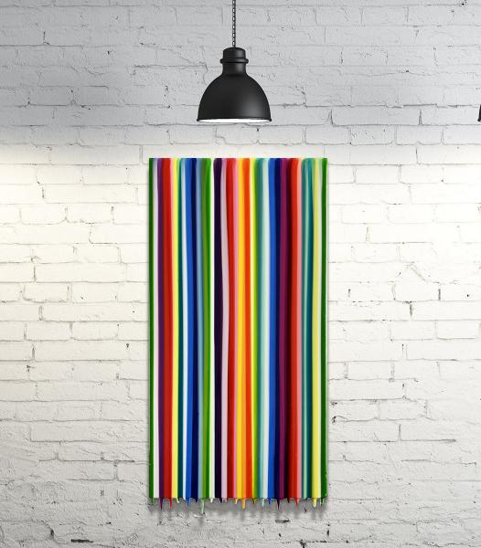Ray of light stripes and drips painting 12x24 picture