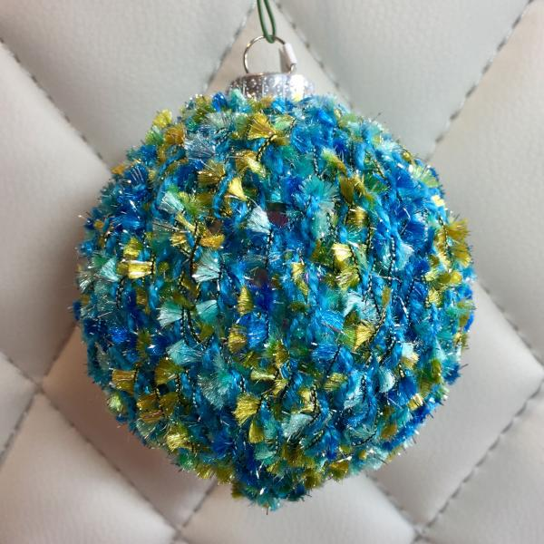 Tufted Blue/Green over Teal Hand Knit Bulb
