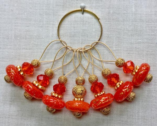 Orange with Gold Flecks Donut Lampwork on Gold Stitch Markers