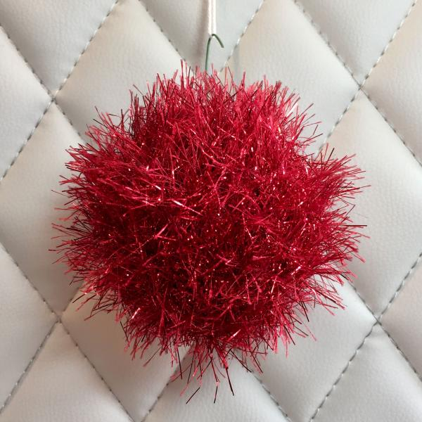 Red Tinsel Eyelash Hand Knit Bulb
