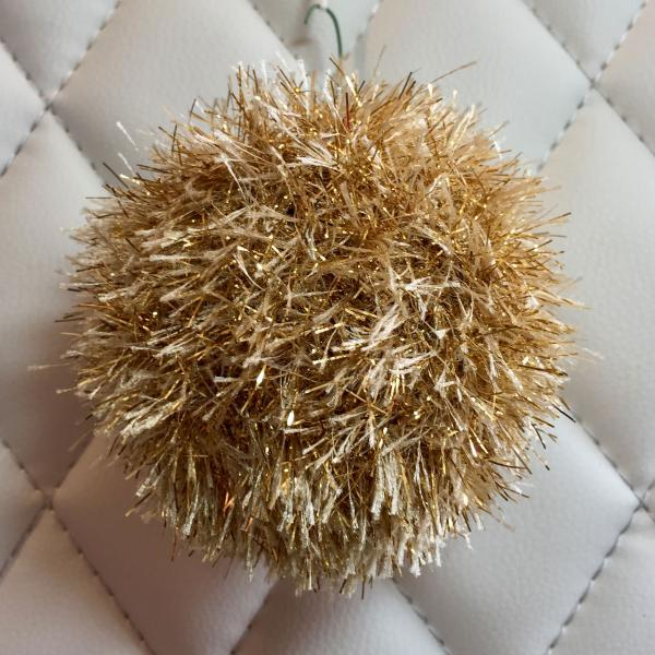 Gold Tinsel Eyelash Hand Knit Bulb