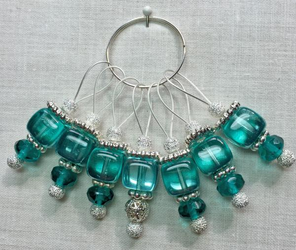 Teal Sparkle Cube on Silver Stitch Markers