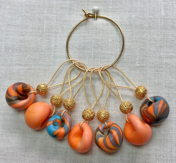 Orange/Teal/Brown Teardrop Lampwork on Gold Stitch Markers