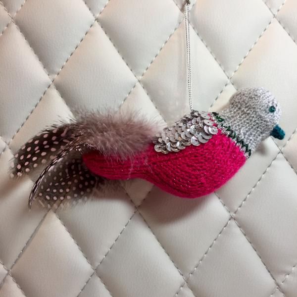 Fuchsia and Silver Sequined Bird Ornament