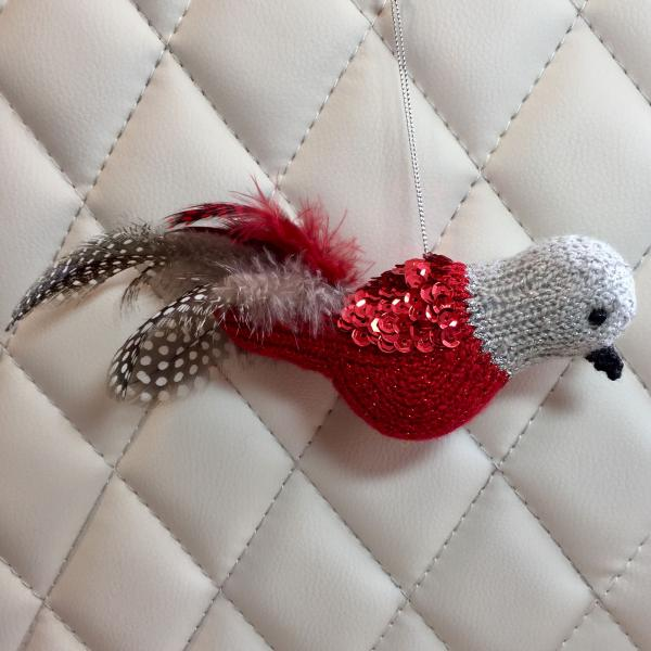 Red and Silver Sequined Bird Ornament
