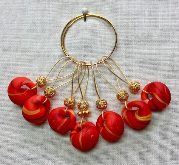 Red Stripped Teardrop Lampwork on Gold Stitch Markers