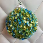 Tufted Blue/Green over Olive Hand Knit Bulb