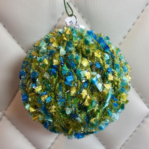 Tufted Blue/Green over Olive Hand Knit Bulb picture