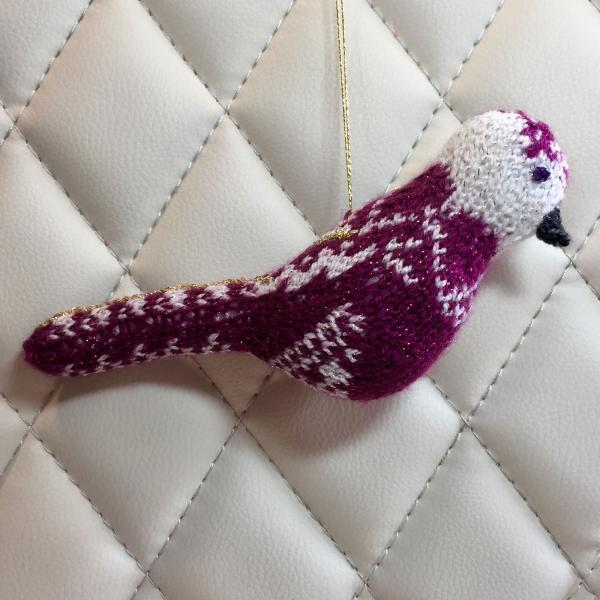 Purple and White Fair Isle Bird Ornament