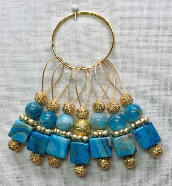 Teal Crazy Lace Stone Cube on Gold Stitch Markers
