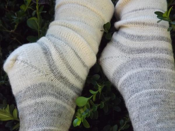 1910 Shepherd Socks-Ombre Dove Grey and White-Women's size 5-7
