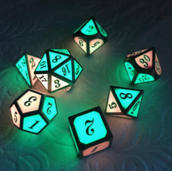 Green and Red two-tone Glow in the Dark Dice Set