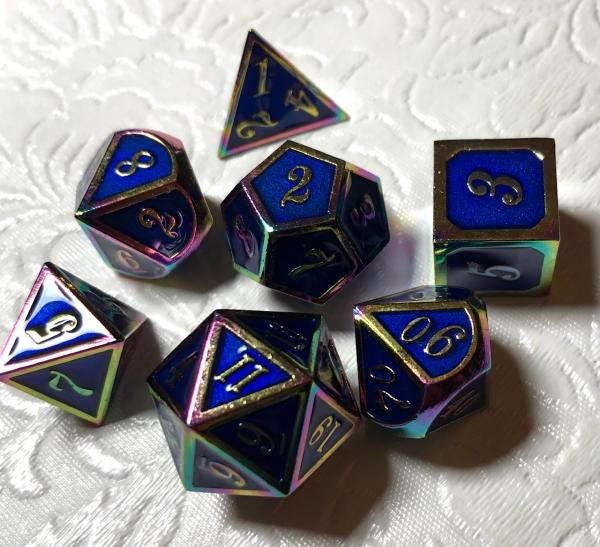 Blue with Rainbow Iridescent Lettering Metal Dice Set