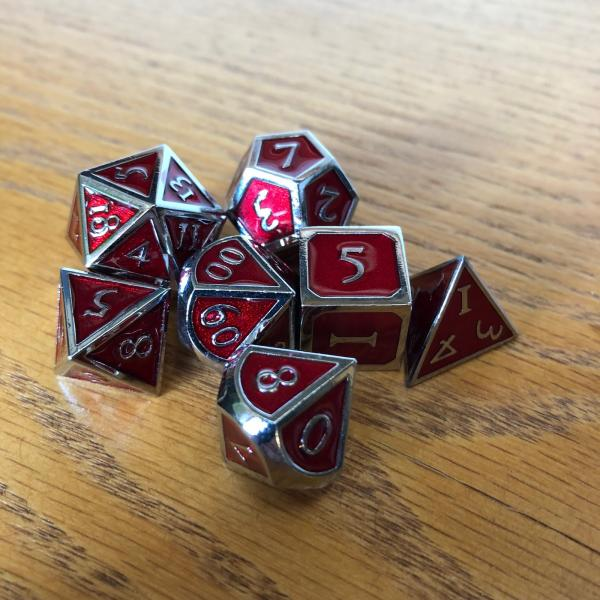 Red with Chrome Lettering Metal Dice Set