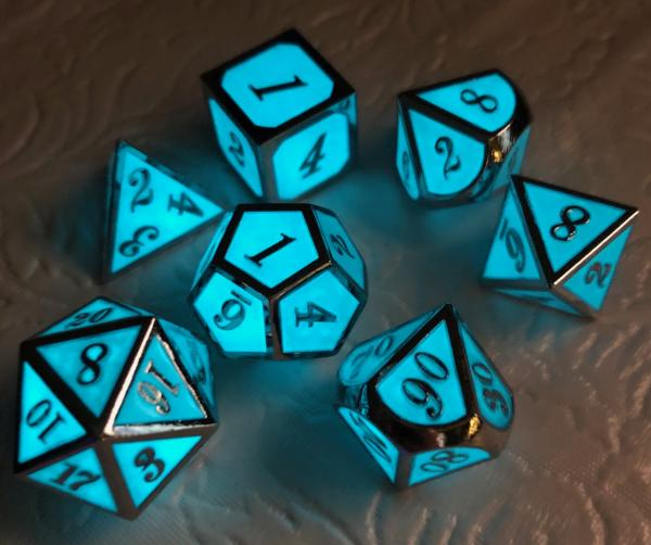 Blue Glow-In-The-Dark Dice Set