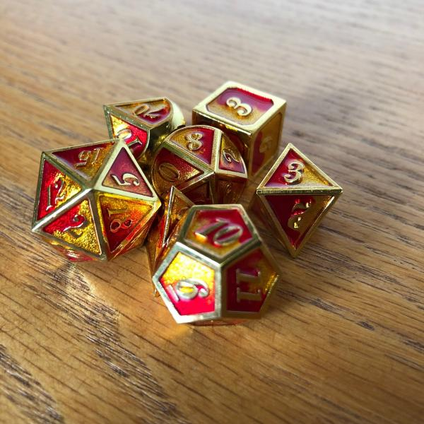 Volcano Swirl with Gold Lettering Metal Dice Set