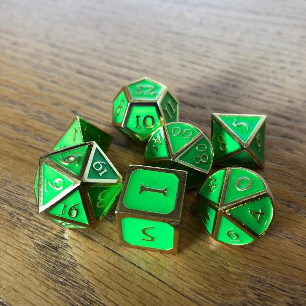 Green with Gold Lettering Metal Dice Set