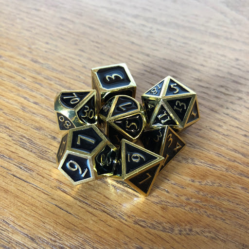 Black with Gold Lettering Metal Dice Set