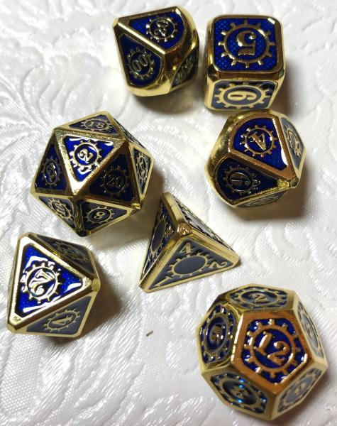 Blue with Gold Lettering Gears Metal Dice