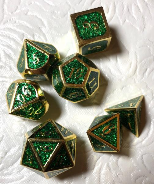 Green Glitter with Gold Lettering Metal Dice Set