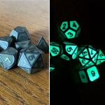 Green Glow-In-The-Dark Metal Dice Set