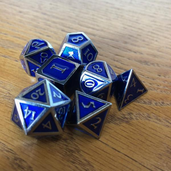 Royal Blue with Chrome Lettering Metal Dice Set