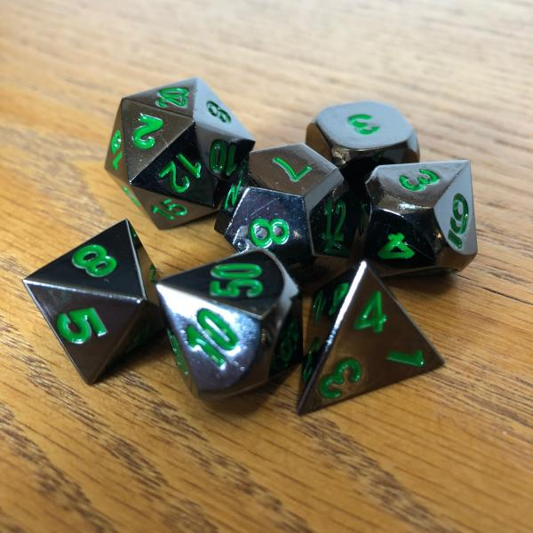 Black with Green Lettering Metal Dice Set picture