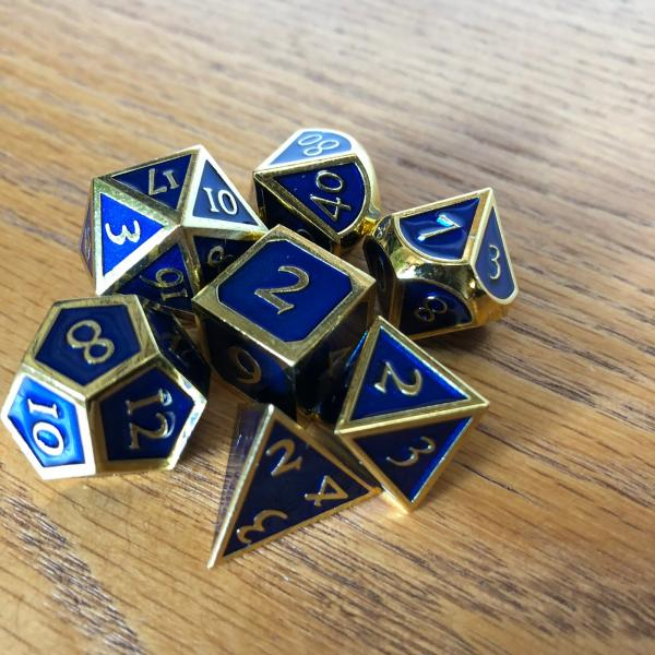 Royal Blue  Dice with Gold Lettering Metal Dice Set