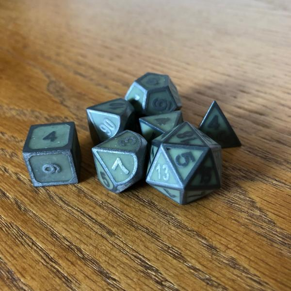 Green Glow-In-The-Dark Metal Dice Set picture
