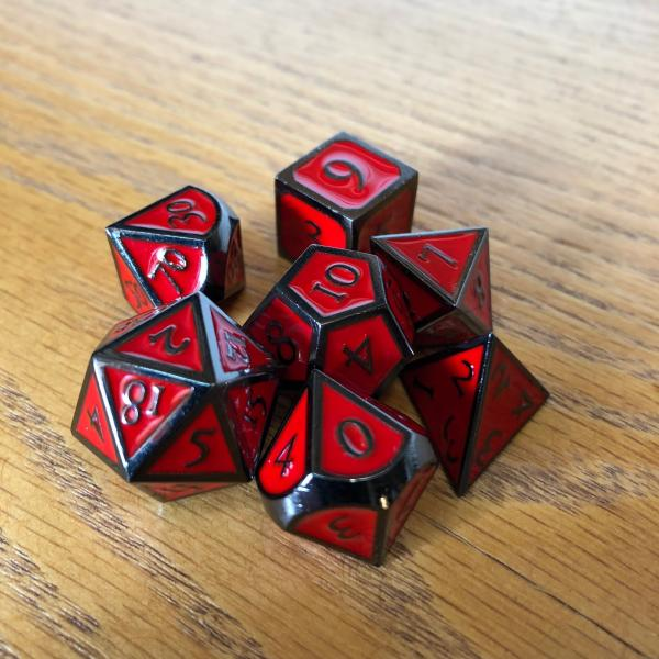 Red with Black Lettering Metal Dice Set picture