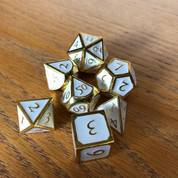 White with Gold Lettering Metal Dice Set