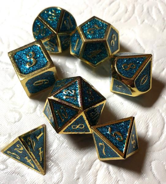 Blue Glitter with Gold Lettering Metal Dice Set