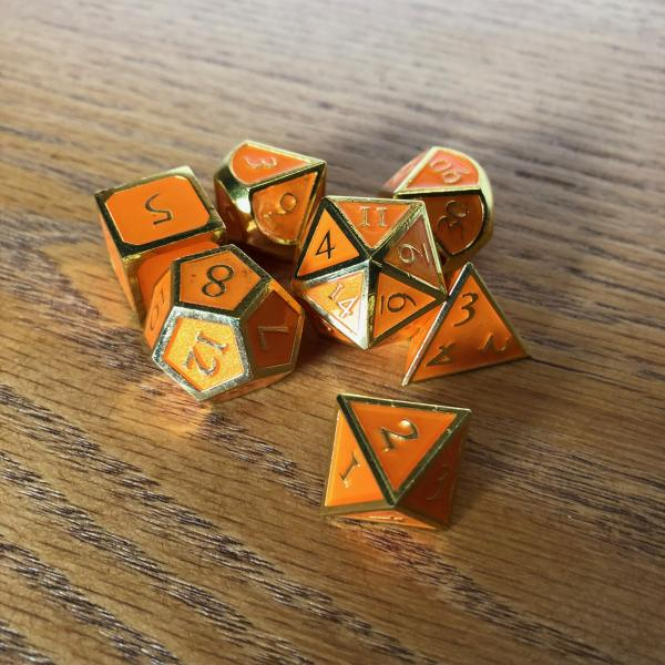 Orange with Gold Lettering Metal Dice Set